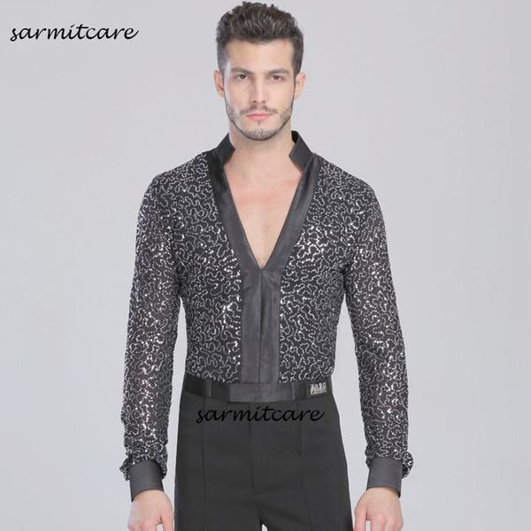 Latin Male Latin Dance Shirt for Men Samba Dance Costumes Tango Samba Costume Dance Clothes Latin Shirts D0115 V Neck Long Sleeve Glitter