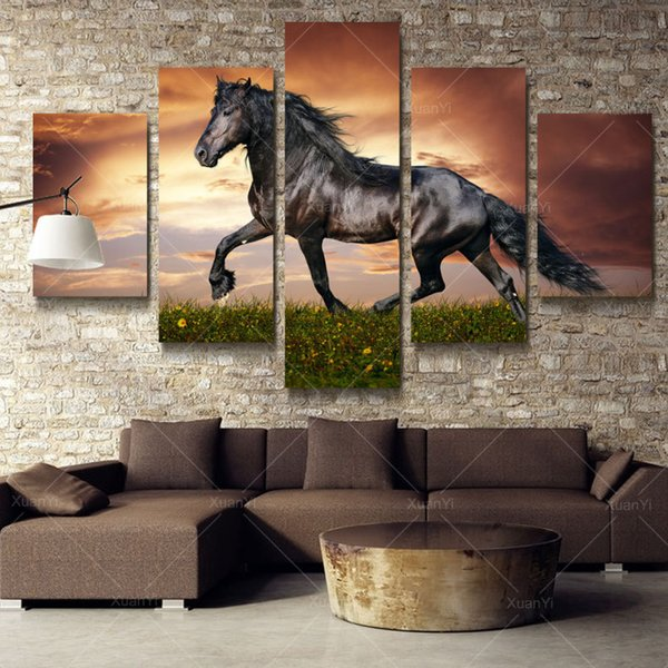 5 Panel Modern Printed Large Horse Painting Picture Cuadros Landscape Canvas Wall Art Home Decor For Living Room No Frame PR1007