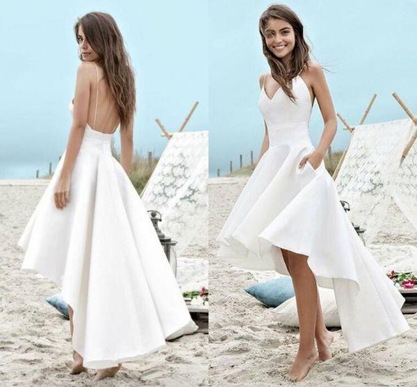 Barato Alto Bajo Playa Vestidos de Novia Vestidos de Novia 2017 Sexy con cuello en v correas de espagueti sin espalda blanco vestidos de novia