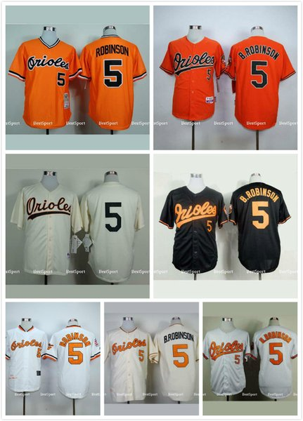 ec6a67154 ... Throwback MLB Jersey Baltimore Orioles 5 Brooks Robinson Jersey White  Orange Black 1954 1970 1975 Cream White Orioles ...