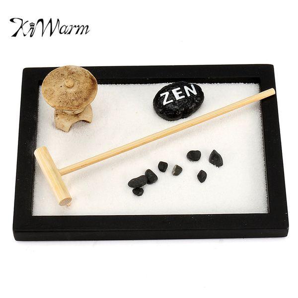 Kiwarm Mini Zen Jardin Bureau Cadeau Décor Feng Shui Râteau Pebble Sable Paix Table Ornements 15 cm