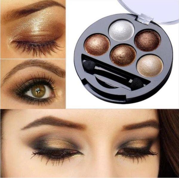 5 Colors Pigment Eyeshadow Palette Eye Shadow Powder Metallic Shimmer Makeup Beauty Profissional Make Up Warm Color Waterproof