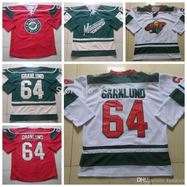 Men's Minnesota Wild Hockey Jerseys 2013 New Road White 64 Mikael Granlund Jersey Cheap Green Granlund Authentic Stitched Jersey