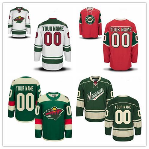 Personalizado Minnesota Selvagem OLD BRAND Mens Womens Juventude Vermelho Verde Branco Série Qualquer Nome Qualquer Número Costurado Retro Hockey Jerseys S-4XL