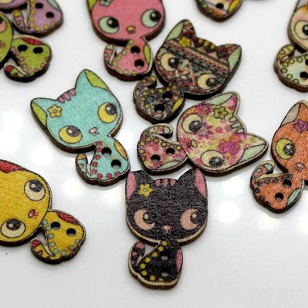 WB-26 wholesale 100pcs Mixcolor Cartoon cat printed wooden buttons two holes colorful Button decorative Sewing Crafts Garment Accessories