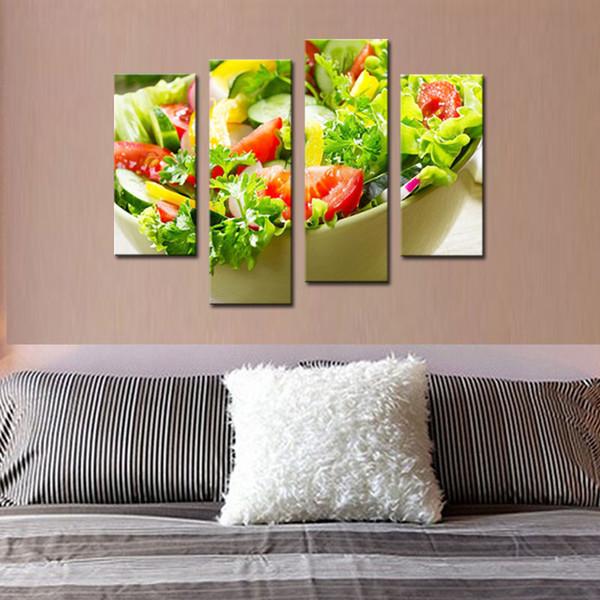 4 Peças Da Arte Da Parede Da Lona Arte Pintura Salada Com Vários Vegetais E Frutas Imagem Impressão Na Lona Alimentos Para Casa Sala de estar Decoração Unframe