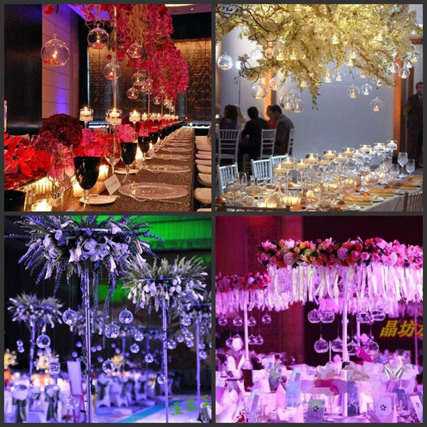 2016 fashion wholesale Romantic Crystal Glass Hanging Candle Holder Candlestick Wedding Dinner Decor 100 pieces/lot