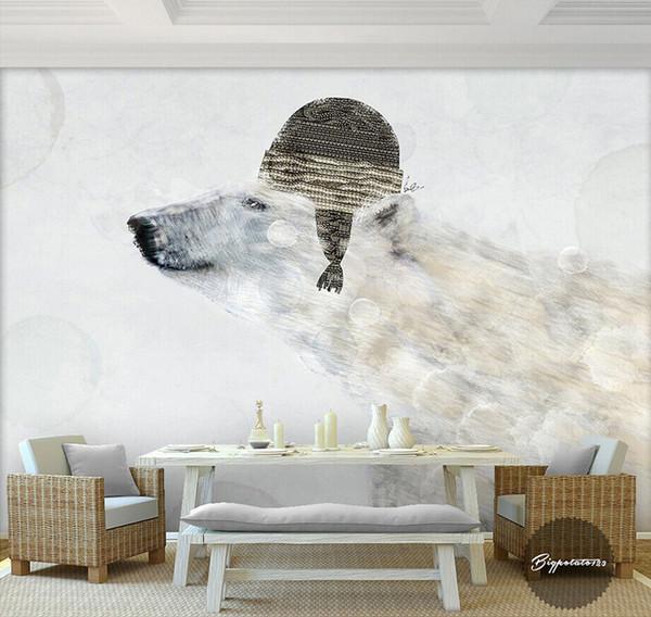 Großhandel Nette Eisbär Tapete Fototapete 3D Cartoon Fototapete Kinder  Schlafzimmer Wohnzimmer Kinder Krankenhaus TV Hintergrund Wand 3D Wallpaper  Von ...