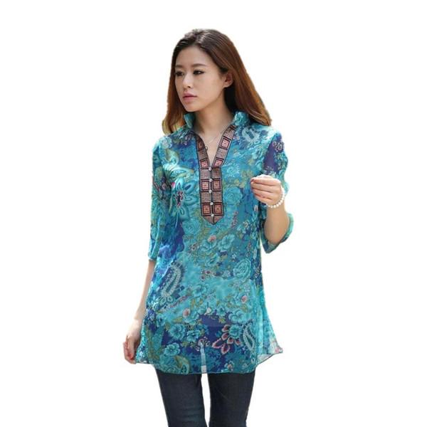 2016 estate nuova stampa ricamo donne vestidos abito in chiffon rosso / blu 5XL solido plus size floreale camicetta casuale AC025