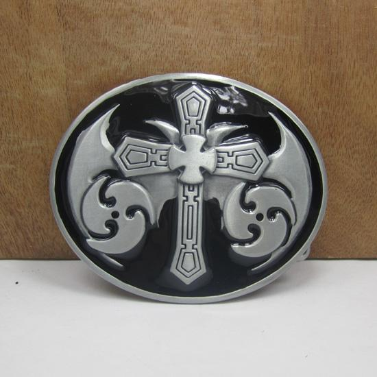 BuckleHome Cross belt buckle religious belt buckle with pewter finish plating FP-01738-1 free shipping