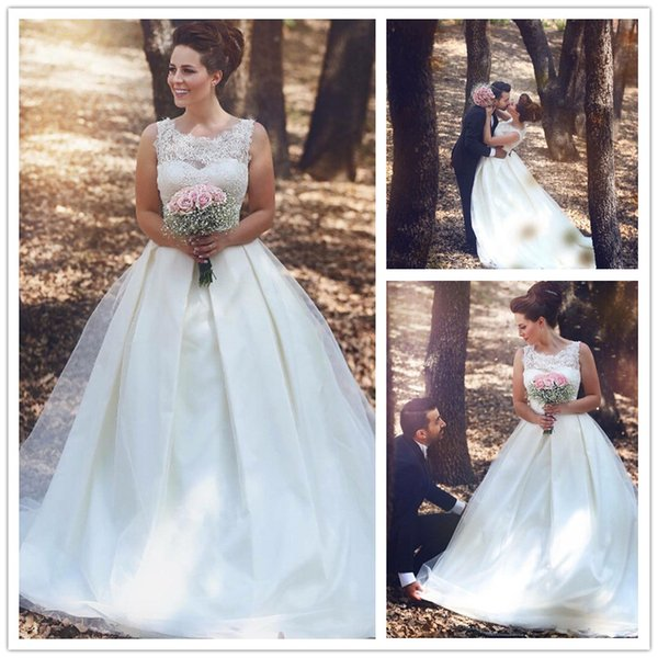Simple Said Mhamad White Wedding Dresses Lace Sheer A Line Cap ...
