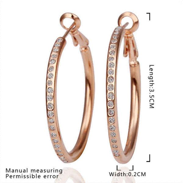 Rose Gold Plated Big Hoop Earrings For Women Statement Crystal Earring Zirconia Jewelry Bijoux Brincos Earings Fashion 2014 E085