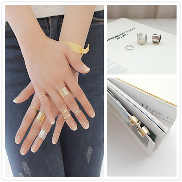 3Pcs Per Set Hot Punk Hollow Circular Stack Plain Above Knuckle Midi Urban Rings Gold Silver
