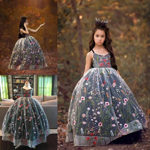 459c5847ab0 Fairy Embroidery Flower Girl Dress V-Neck Fluffy Bella Gown Girls Pageant  Dresses Flower Girls