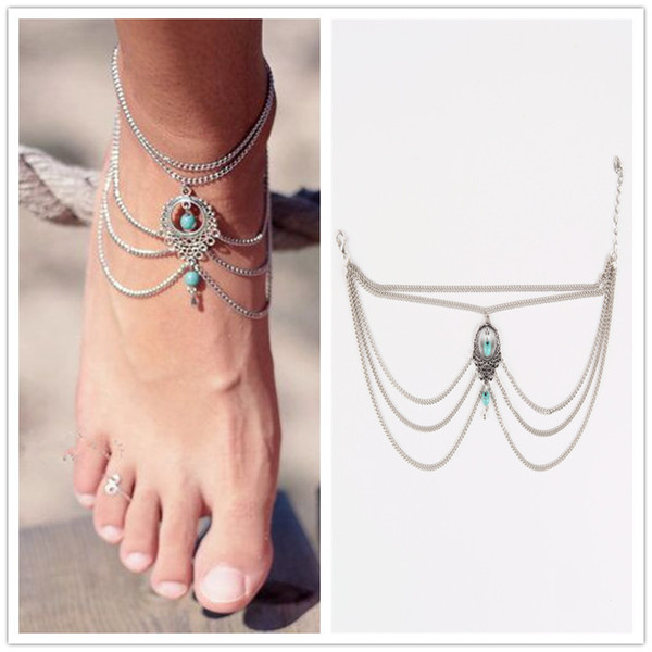 top popular Bohemia Ethnic Turquoise Beads Anklet Hollow Vintage Multi-Layer Chic Tassel Foot Chain Ankle Bracelet Body Jewelry Beach Fashion For Women 2019