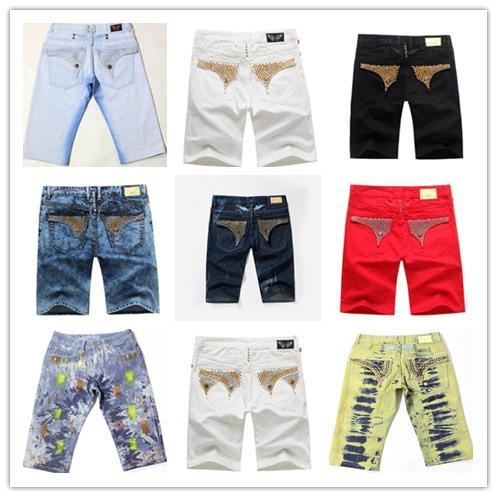 top popular 2016 Famous brand Robin short jeans men tide summer designer robin jeans for male true biker fashion short robin rock revival jeans 22 color 2019
