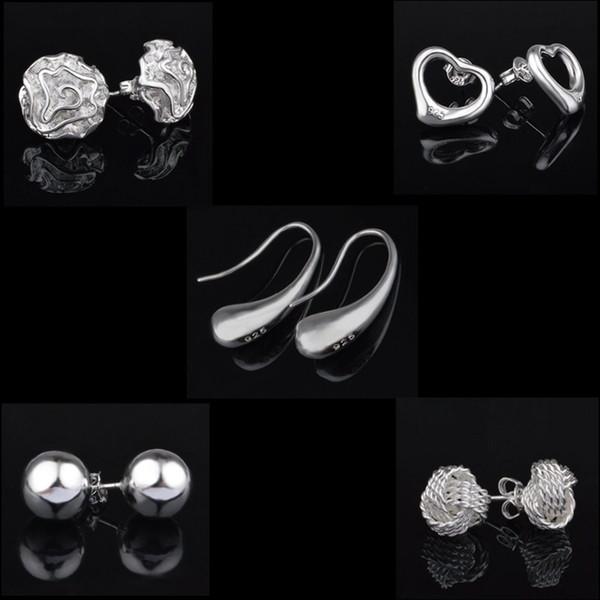 Top Quality Popular 925 Sterling Silver Stud Fashion Jewelry Lady Girl Solid 6mm 8mm 10mm Bead Women Earrings Jewelry Heart Earring