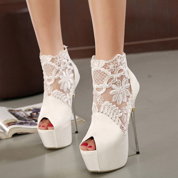 High Heels White Stiletto Shoes Women Platform Open Toe Summer Style Boots Sexy Black Fashion Sandals Online