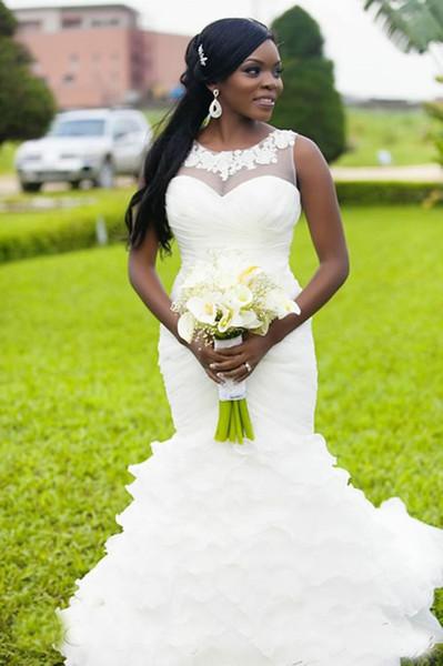 New Vintage Mermaid Afrikanische Brautkleider 2019 Sheer Neck Appliques Rüschen Sweep Zug Organza Elegant Arabisch Plus Size Brautkleider