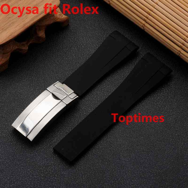 20mm Brand Rubber Strap For ROLEX SUB GMTNew Soft Durable Waterproof Band Watch bands Watches Accessories Folding Clasp Buckle