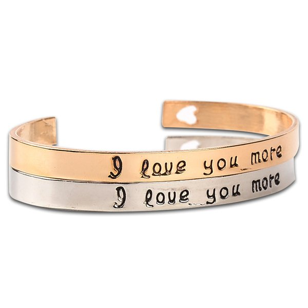 High Quality Stamped Saying I Love You More Cuff Bracelet With Laser Elegant Heart Bangle For Women Fashion Jewelry