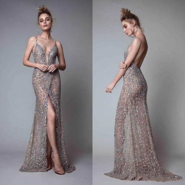 New Berta Front Split Evening Dresses Rhinestones Sleeveless Plunging Neckline Prom Dress Backless Floor Length Formal Evening Gowns 2018