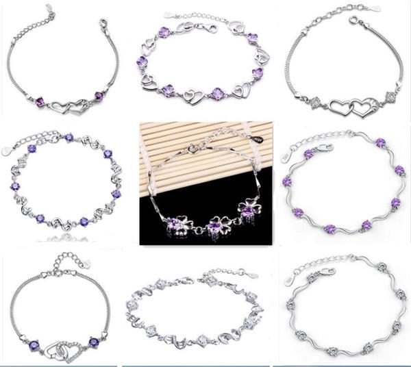 Braccialetto in argento 925 con braccialetti a forma di cuore in cristallo a forma di ametista naturale braccialetto coreano gioielli in versione coreana regalo di San Valentino