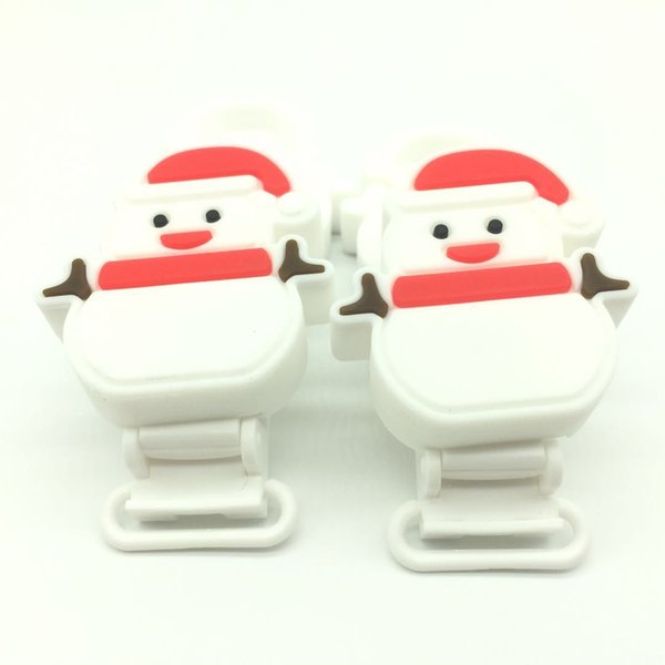 2017 10 pcs Food Grade Silicone Pacifier Clips Lovely Snowman Design Teething Beads Pendant Toy Holder Clip Unique Baby Christmas Gift