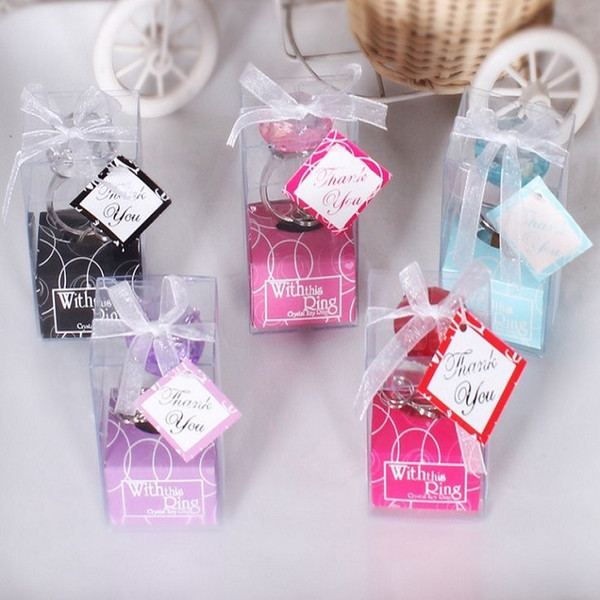 best selling Metal ABS Crystal Ring Keychain With This Ring Key Ring Wedding Favors Gifts 5 Colors 1000pcs lot