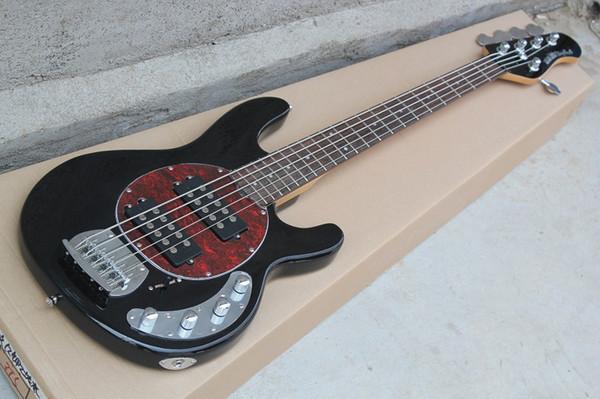 Music Man 5 Cordas Baixo Ernie Bola StingRay Preto Guitarra Elétrica Vermelho MOP Pickguard 9 V Bateria Ativos Pickups Drop Shipping