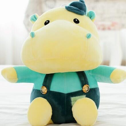 1 piece 40 cm high quality stuffed plush toys new cartoon style overalls hat hippos Children valentine birthday gift WJJA8327