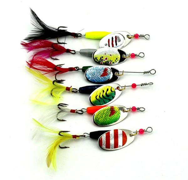 New Fly Fishing Metallo Crankbait Spinnerbaits set 6colors Pesce d'acqua dolce Bass pesce minnow spinner esche da pesca richiamo