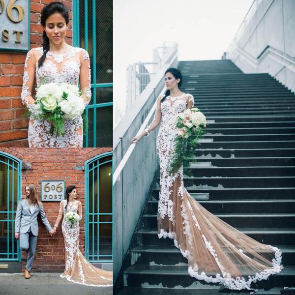 Nuevos y elegantes apliques de tul Sirena Vestidos de baile con botones cubiertos Encaje Mangas largas Vestidos formales Vestidos de fiesta Vestidos de fiesta