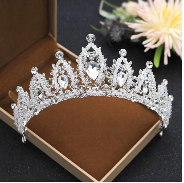 La sposa corona, corona corona di cristallo perline di cristallo, compleanno, lega di copricapo all'ingrosso, colore argento. Benvenuto per comprare