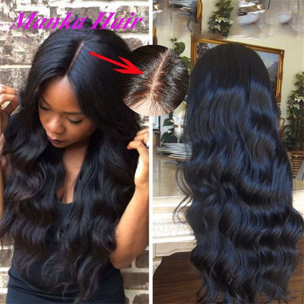 Шелковая база топ полный кружева / кружева фронт парик волнистые бразильский малайзийский человек лучший парик волос с волосами младенца для черных женщин