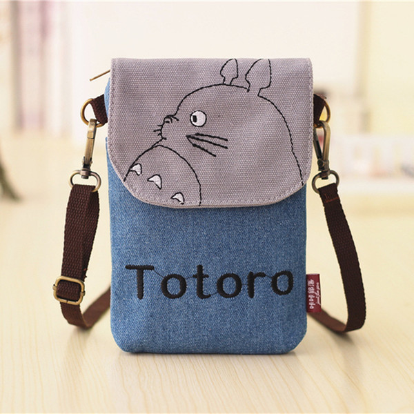 Wholesale- fashion women mini mobile cell phone shoulder bag ladies totoro waterproof girls cartoon canvas crossbody messenger pouch YK027