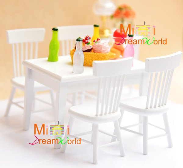 G05-X4315 children baby gift Toy 1:12 Dollhouse mini Furniture Miniature rement wooden white table set