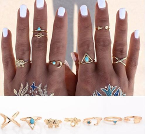 84PCS/lot Punk Gold/Silver Stack Plain Band Midi Fingerjoint geometry retro gemstone rings turquoise arrow Elephant Moon rings for women