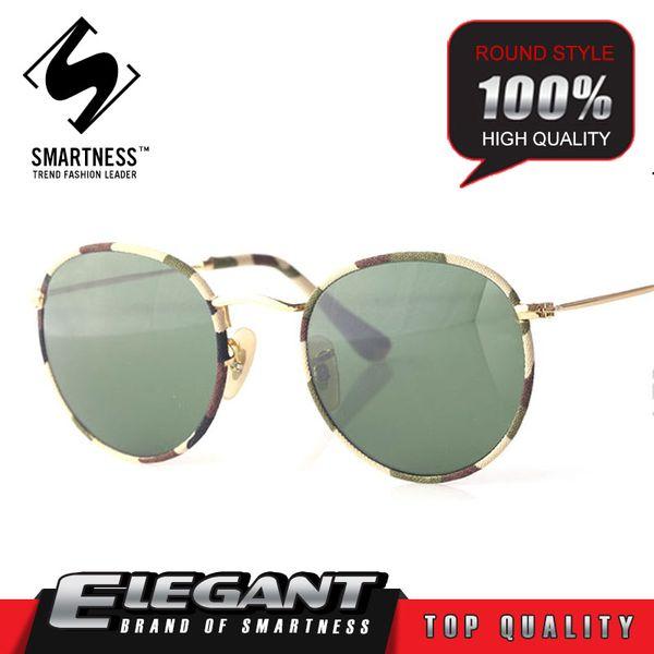 2016 Hot Sale New Brand Designer Camouflage Gold Frame Retro 03447 Round Folding Alloy Sunglasses Men Women UV400 Protection Sunglasses s256