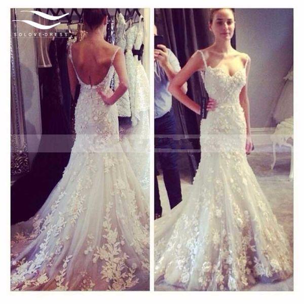 2019 Marfim De Luxo Sereia Spaghetti Lace Vestido De Noiva Da Praia Arábia Saudita Querida Appliqued Casamento Vestido De Noiva Vestido