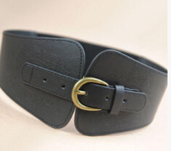 Wholesale-0075 Women Ladies Vintage Super Wide Faux Leather Gold Metal Buckle Totem Print Elastic Stretch Corset Cinch Belt free shipping