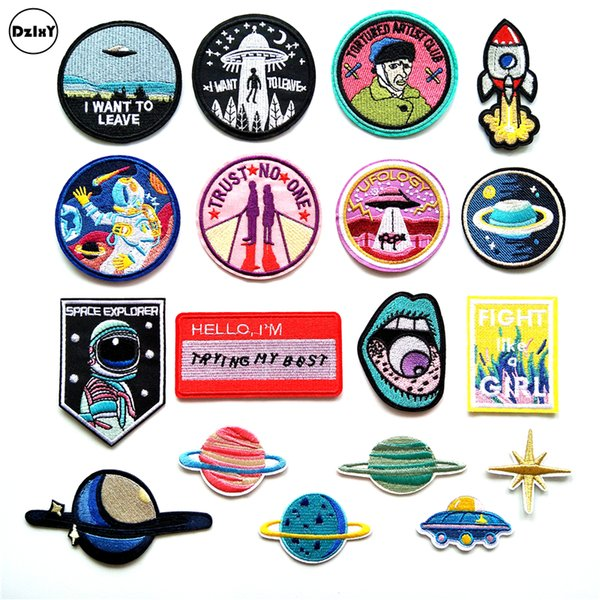 top popular (30 Style) UFO Alien Parches Embroidery Iron on Patches for Clothing DIY Stripes Clothes Planet Stickers Universe Applique 2019