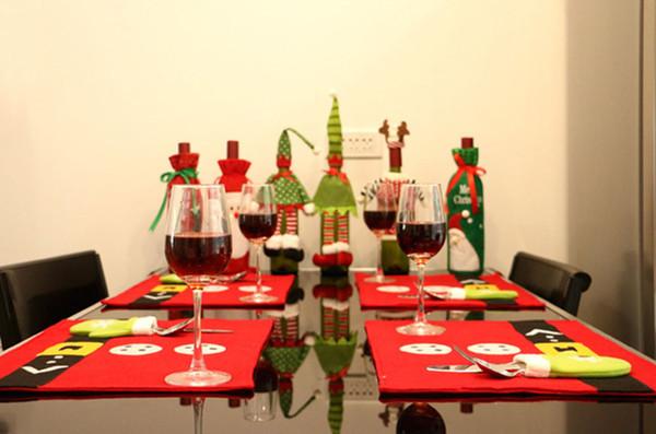Rot 45 CM * 33 CM Umweltfreundliche Weihnachten Tischset Weihnachten Desktop Dekoration Lieferungen Vliesstoffe Weihnachten Gabel Matte Rot Tischset