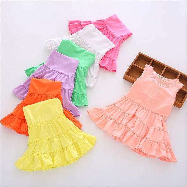 PrettyBaby 2016 summer kids girls cake dresses 7colors for U sleeveless lovely style for Ur sweet baby 20pcs/Lot free shipping