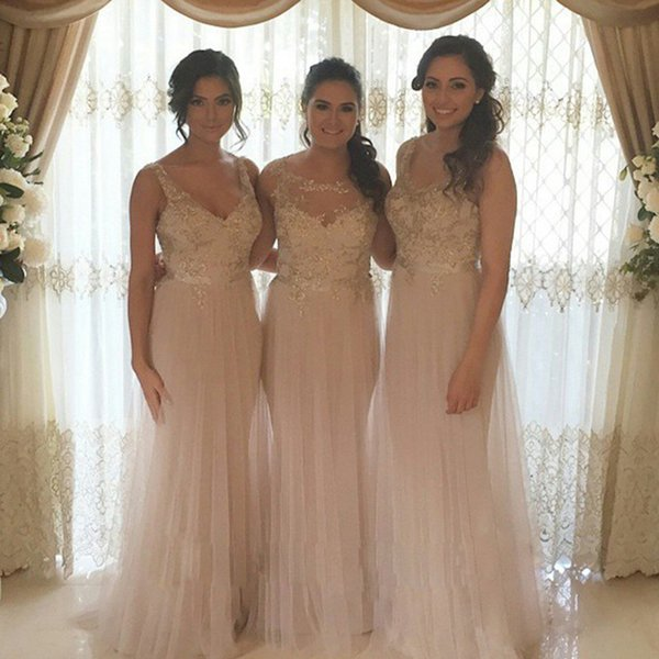 2016 Elegant Beads sequins sheer Scoop neck 2 Style Long Bridesmaid Dresses Long Wedding Prom Party Dress Custom Made