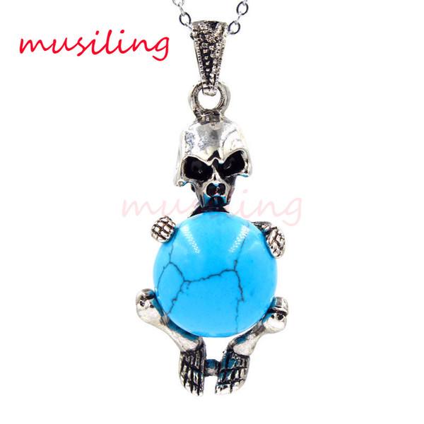 2016 Jewelry Silver Plated Pendulum Skull Natural Gem Stone Pendant Charms Reiki Amulet European Fashion Cool Men Jewelry Gifts 10pcs