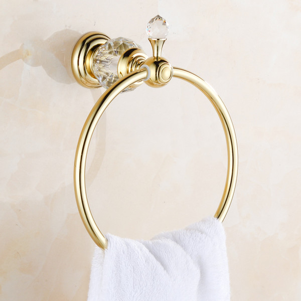 top popular Luxury Crystal & Brass Gold Towel Ring,Towel Holder, Towel Bar Bathroom Accessories,Free Shipping,Solid Brass Gold Plated Crystal 2021