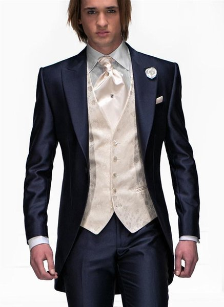 Wholesale-New Arrival One Button Navy Blue Groom Tuxedos Groomsmen Mens Wedding Suits Prom Bridegroom (Jacket+Pants+Vest+Tie) NO:968