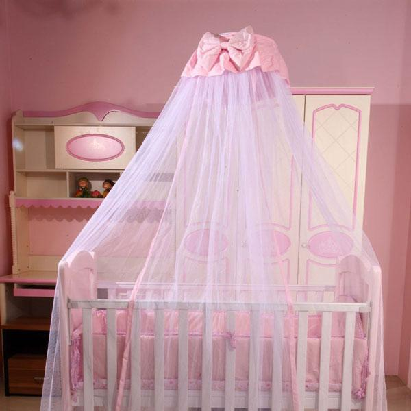 Baby Bed Crib Dome Canopy Netting for Boys Girls Princess Hanging Mosquito Net with Bowknot Decor for Bedroom Insect Protection Mesh Cover