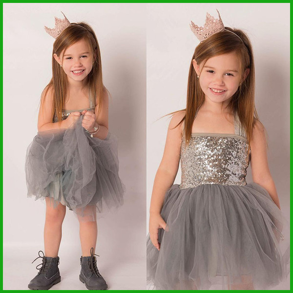 one-piece summer girls dress children formal sequin one-piece tulle grey lace gown girl clothing dresses 2016 free shipping